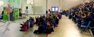 Bains students learn conflict resolution with Harvey the Rabbit