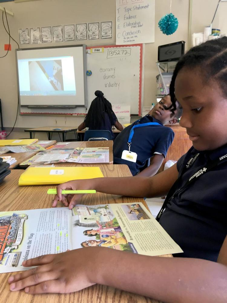 Bains Elementary School students practice close-reading skills