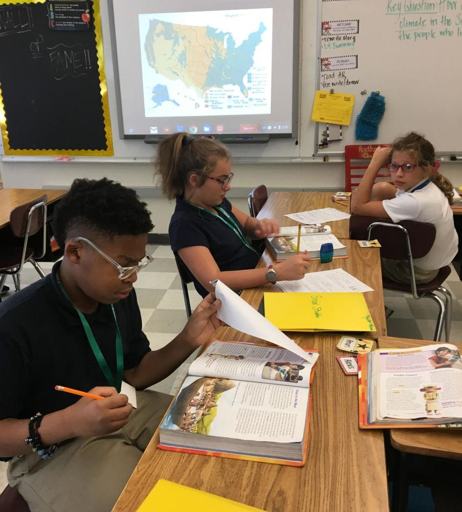 Bains teacher Sammetria Martin leads social studies classes