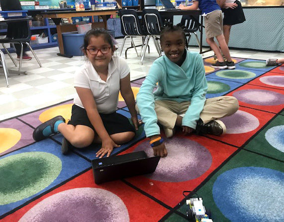 Bains Elementary School students gain STEM skills programming moon rover models