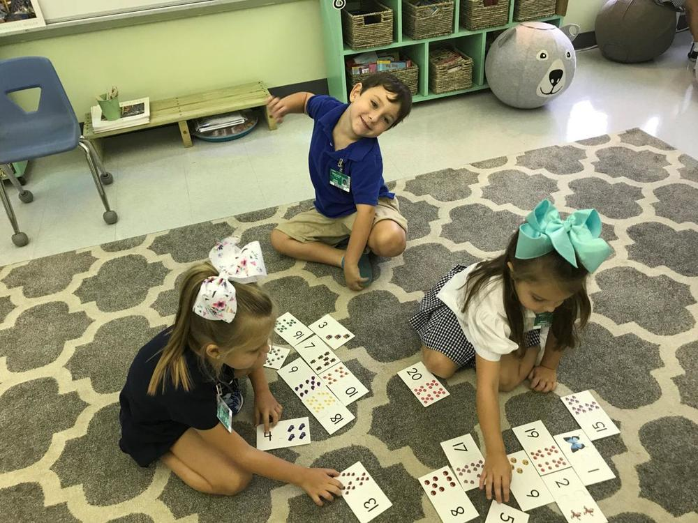 Bains Elementary students learn during literacy center lessons