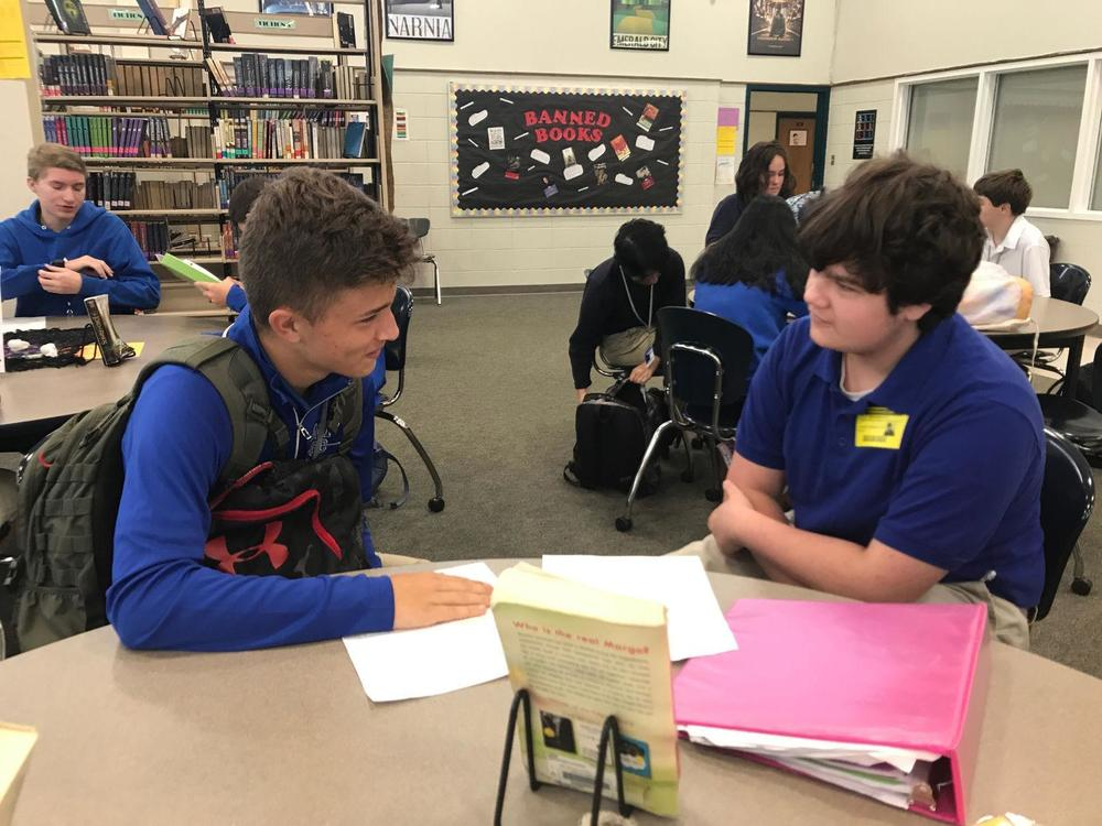 West Feliciana High School students help one another prepare for test