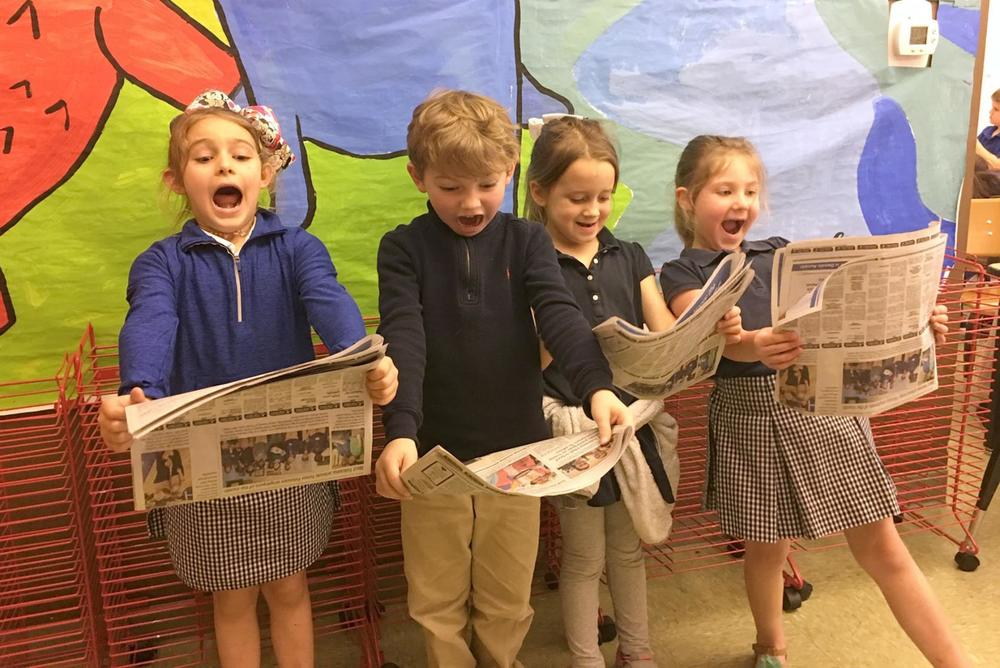 Bains Lower Elementary School students enjoy being in the news