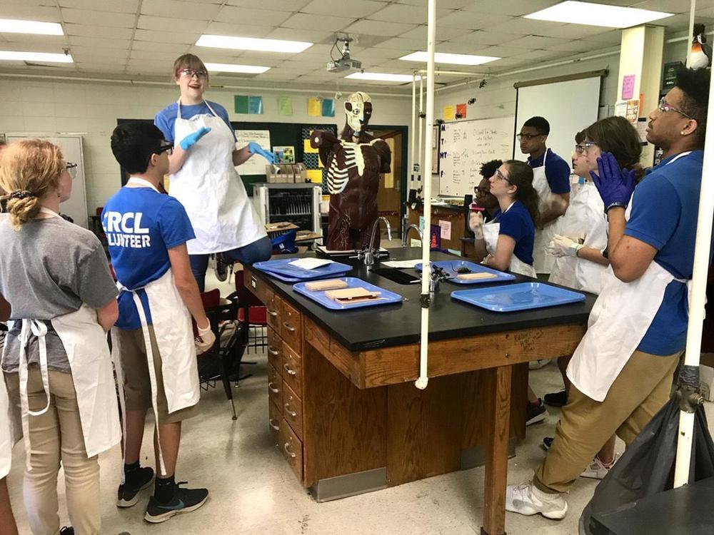 West Feliciana High School biology students dissect mice