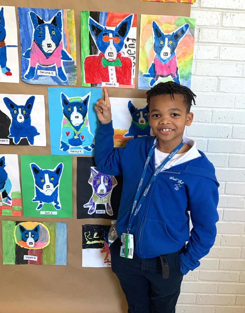 Bains Elementary School students interpret George Rodrigue's Blue Dog