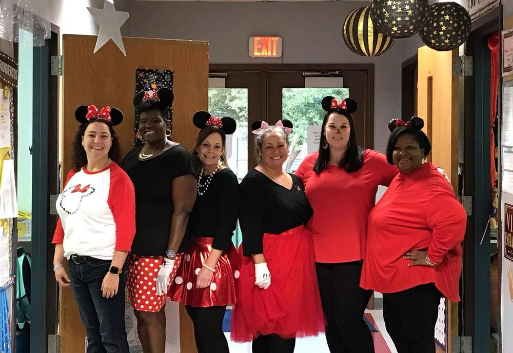Bains Lower Elementary School staff members join in homecoming week fun