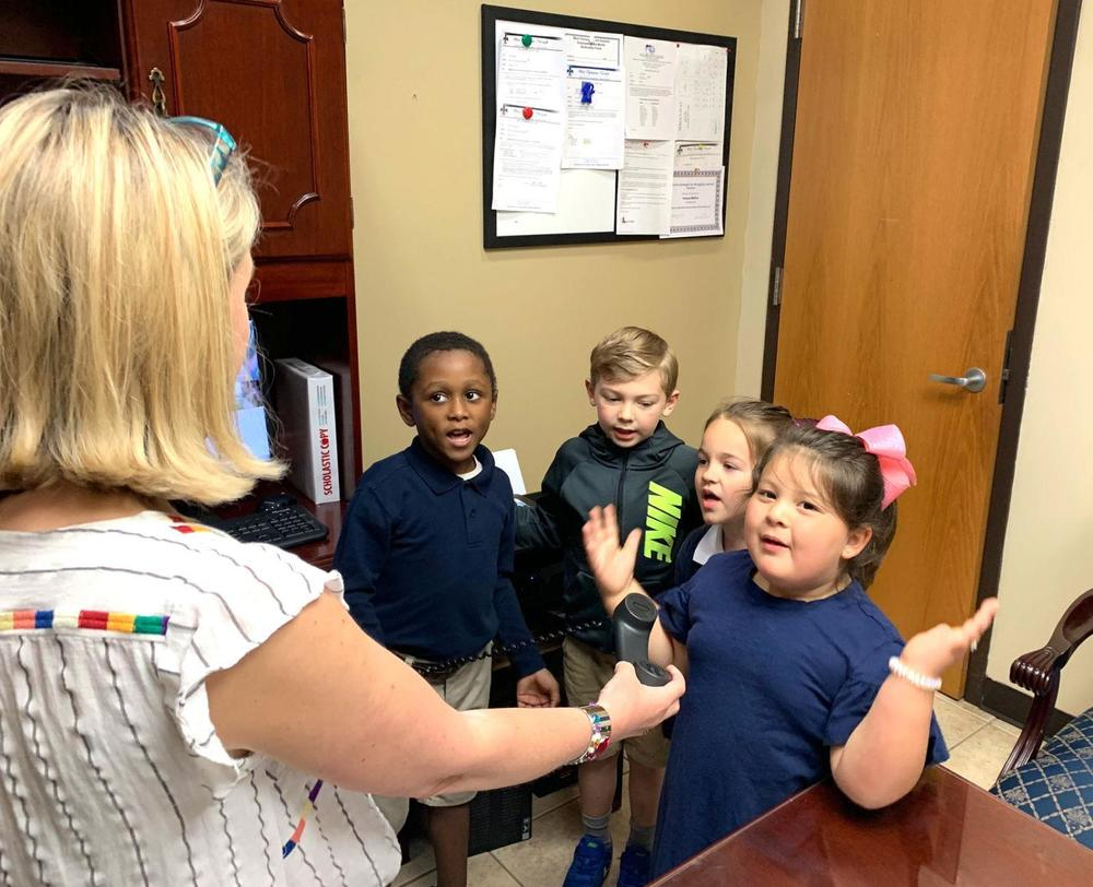 Bains Lower Elementary School students lead morning announcements