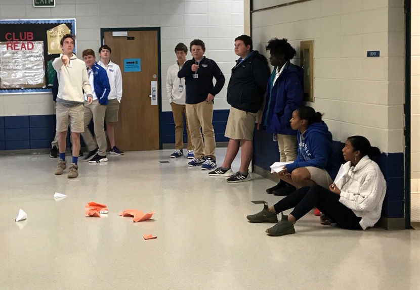 West Feliciana High School students use paper airplanes to explore the physics of flight