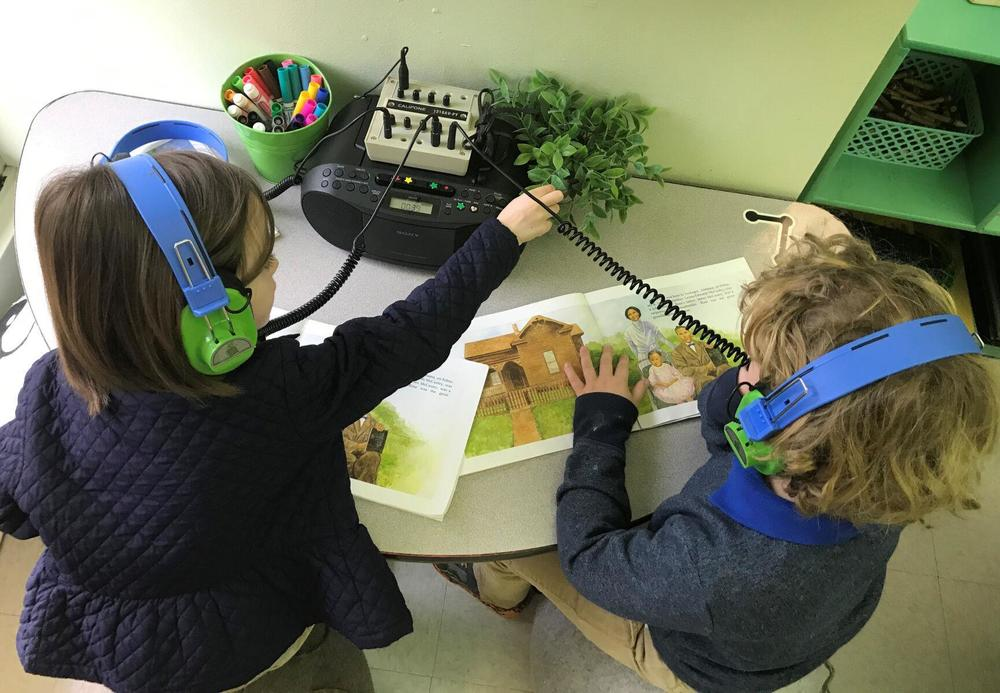 Audio books help Bains Lower Elementary students learn how to read
