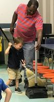 Bains Lower Elementary School student helps keep cafeteria neat