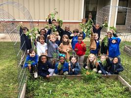 Bains Lower Elementary School students savor their own produce
