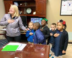 Bains Lower Elementary School students bring enthusiasm to morning announcements