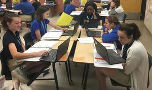 West Feliciana Middle School history class uses the new to study the old