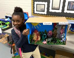 Bains Elementary School students create habitat models