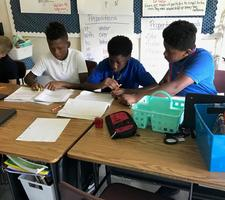 Bains fifth-graders study hard in English language arts class