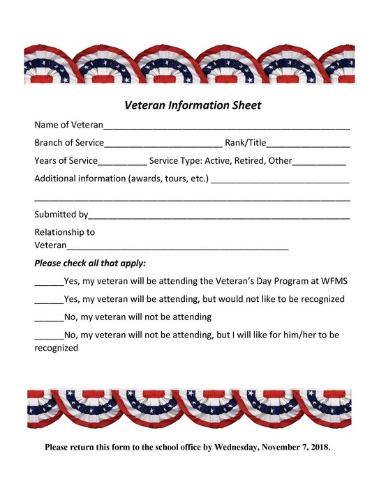VETS DAY FORM