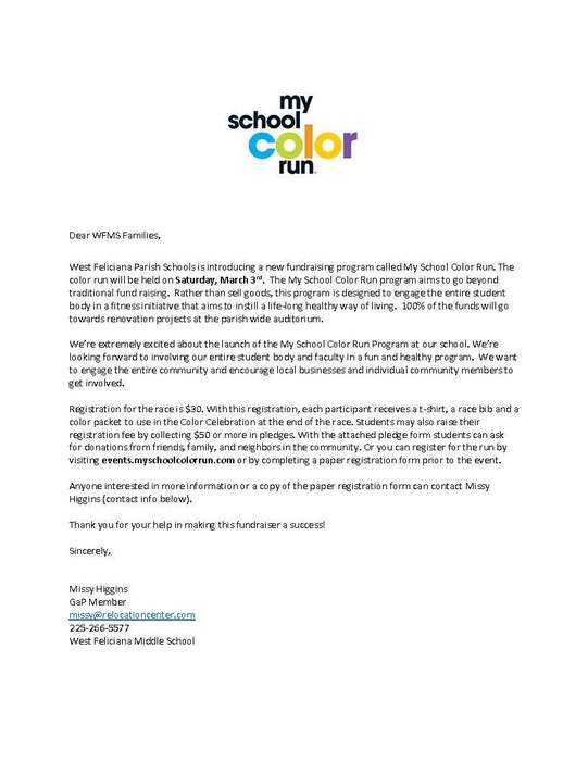 Color Run Info Letter